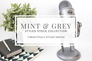 Mint and Grey Styled Stock Photos