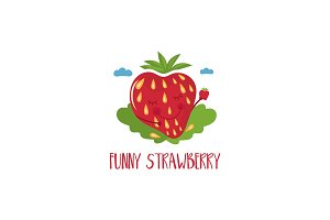 Cute cartoon strawberry with hands and eyes for kids theme.Vecto