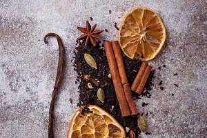 Dry black  tea with spices