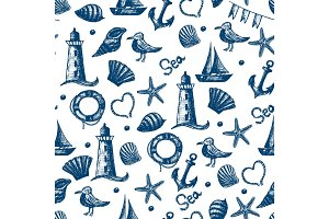 Seamless pattern hand drawn sea themed objects. Seagull,lighthou