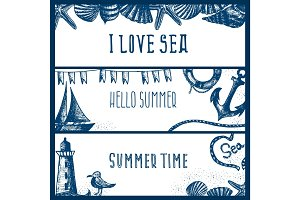 Set of hand drawn sea themed banners. Seagull,lighthouse,shell,b