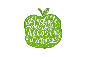 "Hand drawn vintage motivational quote about health and apple:""An"