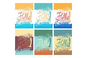 "Set of hand drawn vintage posters with quote about summer:""Hello"