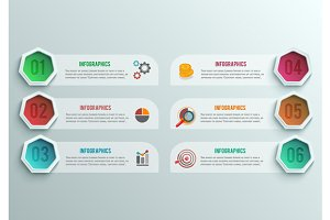 Set business infographics banner