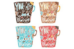 "Hand drawn vintage quote for coffee themed:""Your+Coffee=Good Mor"