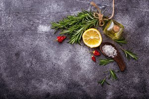 Rosemary, salt, lemon and oil