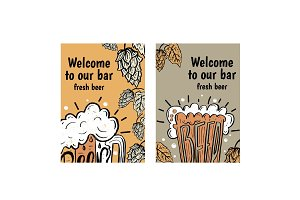 Hand drawn flyers with beer in glass mug with text Beer on  back