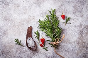 Rosemary, salt and red pepper