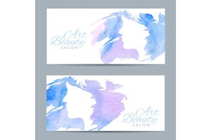 Set of banners with conceptual silhouette of a woman with hair.