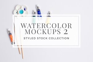 Watercolor Artist Mockup Bundle II