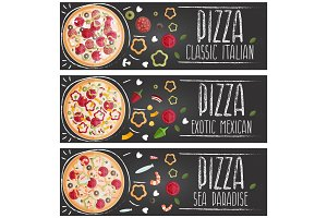Set of banners for theme pizza with different tastes flat design