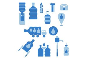 Set of icons for theme bottled water flat design. Vector illustr