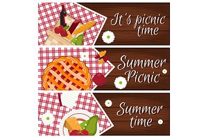 Set of banners with wooden desk with picnic basket for summer ti