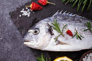 Uncooked dorado fish
