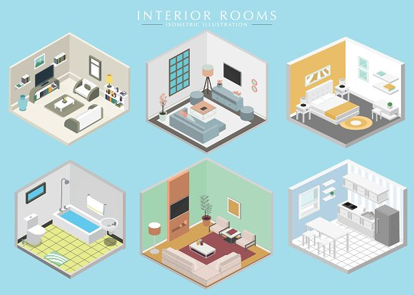 Different Interiors Isometric Set