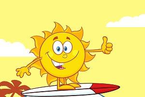Surfer Sun Mascot Character