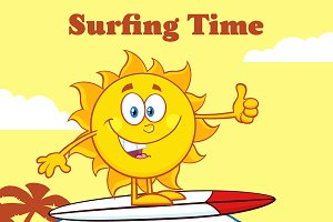 Surfer Sun Riding A Wave And Showing