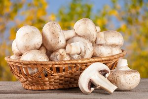 Champignon mushrooms in a wicker basket on wooden table with blurry garden background