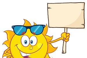 Sun Holding A Wooden Blank Sign