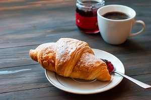 Brekfast croissants and coffee