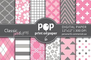 Classic Pink & Gray - Digital Paper