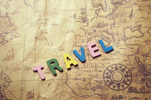 travel words on old map
