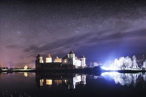 Mirsky castle at night