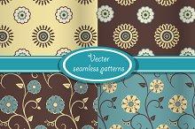 4 vector vintage floral patterns