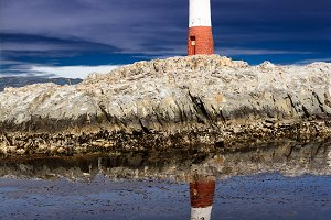 Lighthouse Les eclaireurs in Beagle Channel in the evening