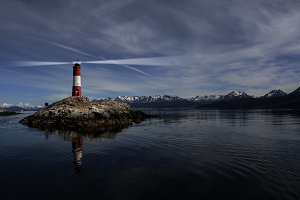 Lighthouse Les eclaireurs in Beagle Channel near Ushuaia