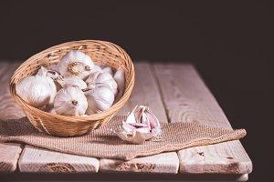 still life, basket with garlic