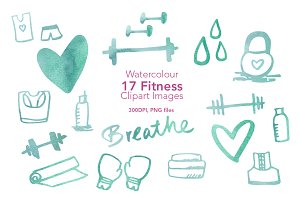 Watercolour Fitness Clipart Images