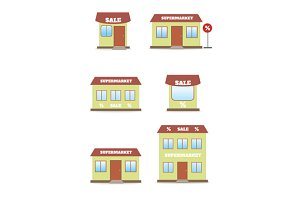 Supermarket, shop, store icon set