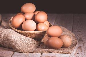 still life basket of eggs