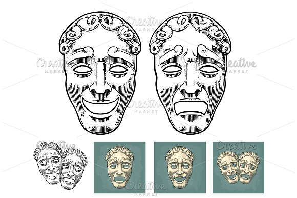 Comedy And Tragedy Theater Masks Vector Engraving Vintage Black Illustration