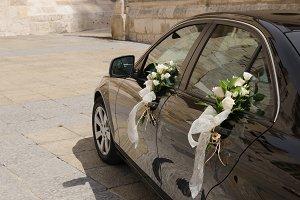 Wedding car decorated