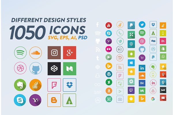 Social Media Icons Creative Illustrator Templates Creative Market
