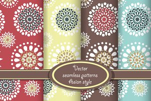 Vector set of floral seamless patter