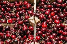 Cherries box in the market
