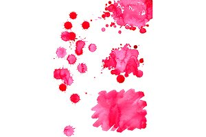 Watercolor pink spot isolated set