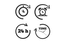 Clocks, time icons set