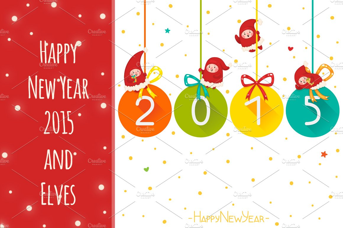 Happy new year 2015 and elves card templates creative market m4hsunfo