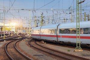 High speed white passenger train