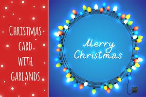 Christmas card with garlands