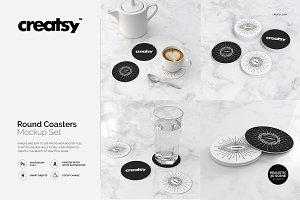 Round Coasters Mockup Set