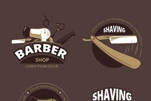 Barber shop vector badges