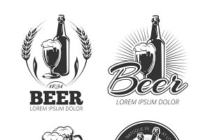 Vintage beer vector logos set