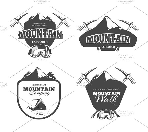 Vintage Mountain Camping Logos Set
