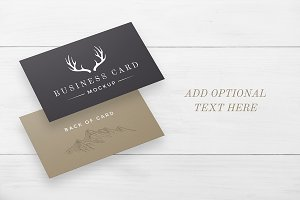 White Wood Business Card Mockup