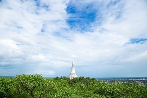 white pagoda on the mountain.